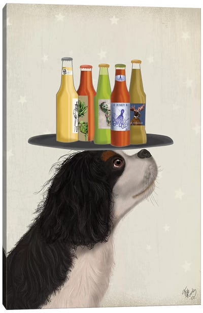 King Charles Spaniel Black White Beer Lover Canvas Art Print