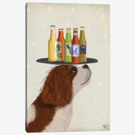 King Charles Spaniel Brown White Beer Lover Canvas Print #FNK1778} by Fab Funky Art Print
