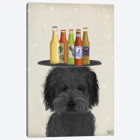 Labradoodle Black I Beer Lover Canvas Print #FNK1779} by Fab Funky Art Print