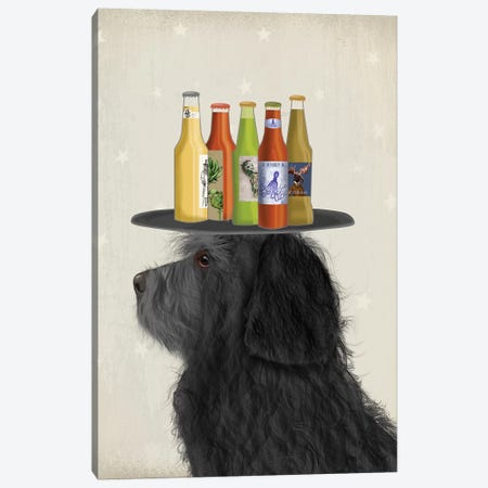 Labradoodle Black II Beer Lover Canvas Print #FNK1780} by Fab Funky Canvas Artwork