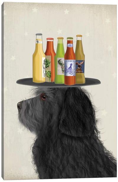 Labradoodle Black II Beer Lover Canvas Art Print