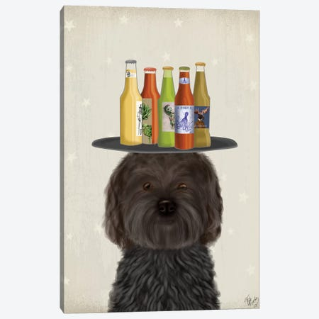 Labradoodle Black Beer Lover Canvas Print #FNK1781} by Fab Funky Canvas Art