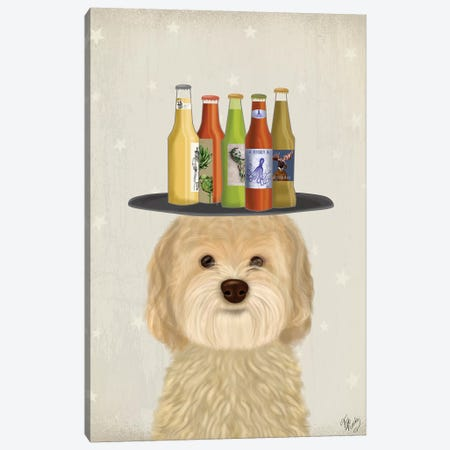 Labradoodle Blonde Beer Lover Canvas Print #FNK1782} by Fab Funky Canvas Artwork