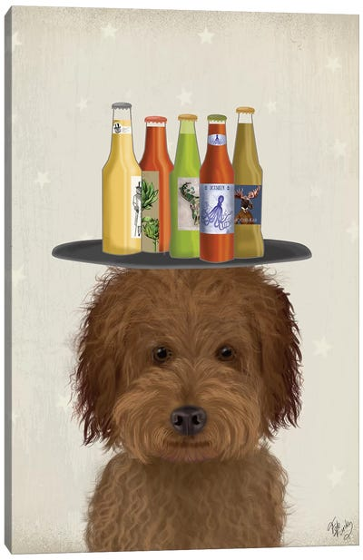 Labradoodle Brown I Beer Lover Canvas Art Print