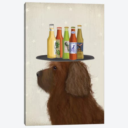 Labradoodle Brown II Beer Lover Canvas Print #FNK1784} by Fab Funky Canvas Art Print