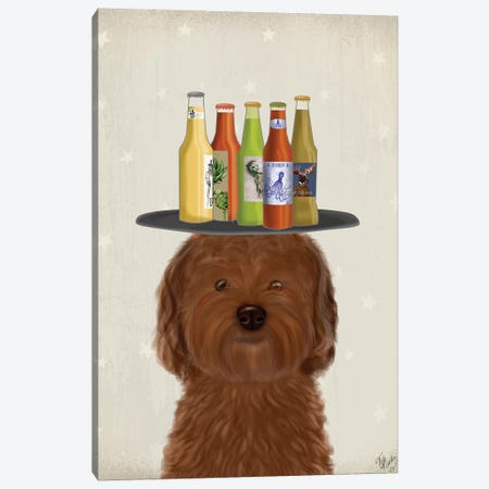 Labradoodle Brown Beer Lover Canvas Print #FNK1785} by Fab Funky Canvas Print