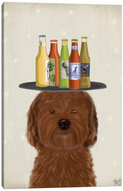 Labradoodle Brown Beer Lover Canvas Art Print