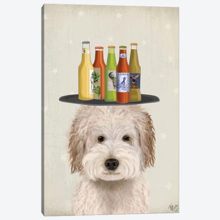 Labradoodle Cream Beer Lover Canvas Print #FNK1786} by Fab Funky Canvas Art Print