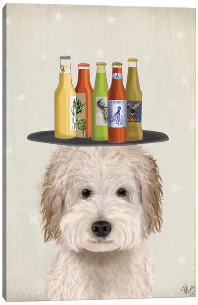 Labradoodle Cream Beer Lover Canvas Art Print