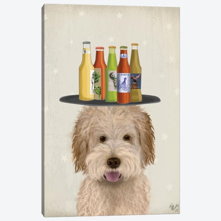 Labradoodle Gold I Beer Lover Canvas Print #FNK1787} by Fab Funky Canvas Print