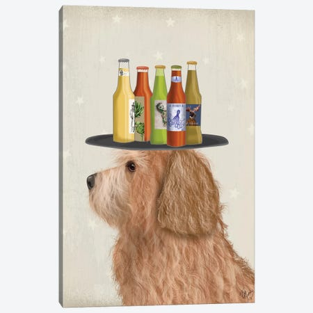 Labradoodle Gold II Beer Lover Canvas Print #FNK1788} by Fab Funky Canvas Artwork
