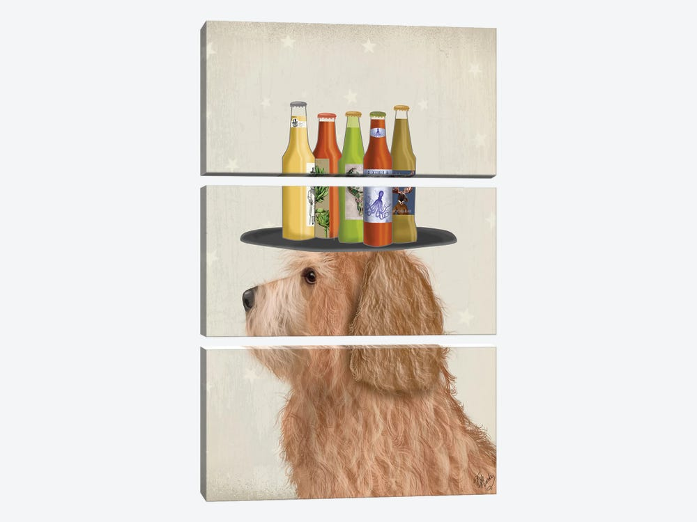 Labradoodle Gold II Beer Lover by Fab Funky 3-piece Canvas Art
