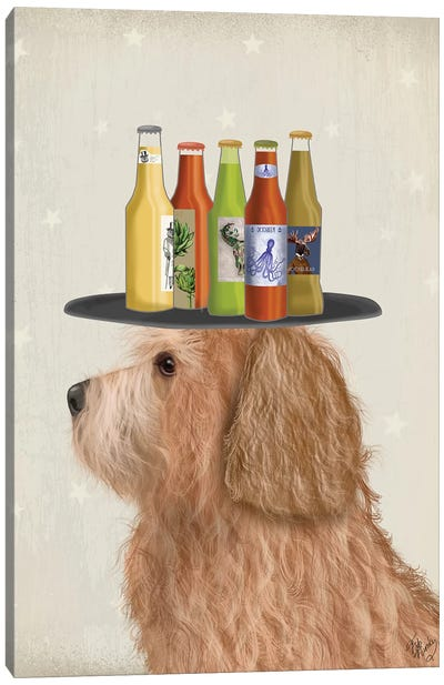 Labradoodle Gold II Beer Lover Canvas Art Print