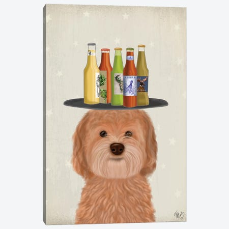 Labradoodle Gold Beer Lover Canvas Print #FNK1789} by Fab Funky Canvas Art