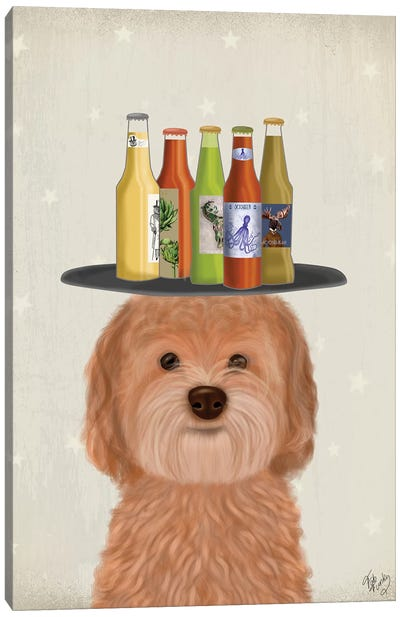 Labradoodle Gold Beer Lover Canvas Art Print