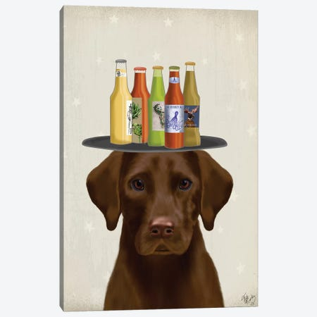 Labrador Chocolate Beer Lover Canvas Print #FNK1791} by Fab Funky Art Print