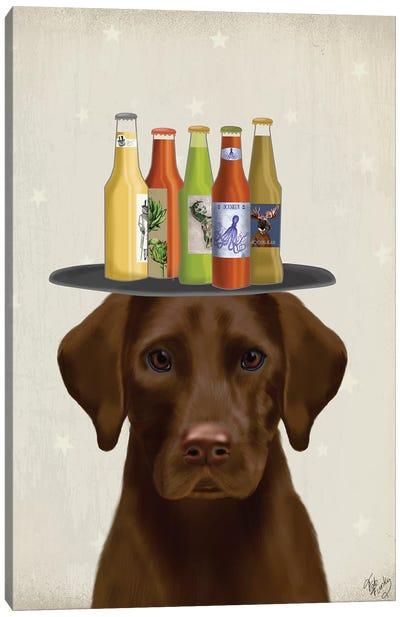Labrador Chocolate Beer Lover Canvas Art Print