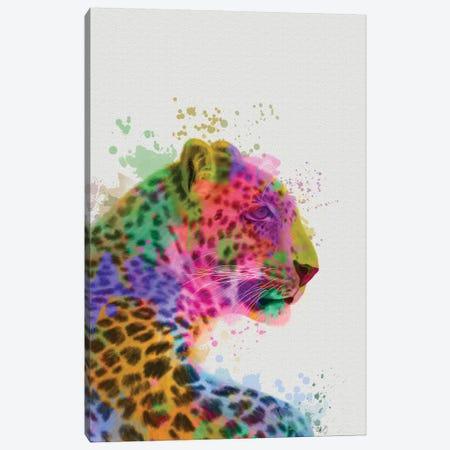 Leopard Rainbow Splash 1 Canvas Print #FNK1792} by Fab Funky Art Print