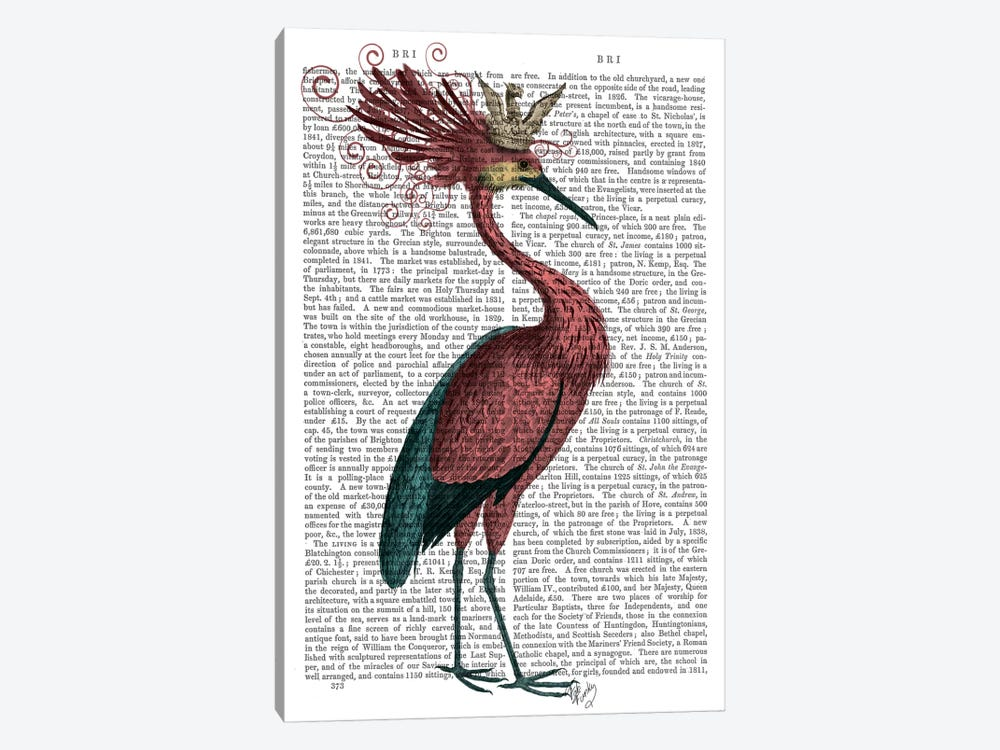 Crowed Marsala Heron by Fab Funky 1-piece Canvas Wall Art