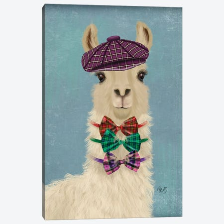 Llama Dapper Canvas Print #FNK1812} by Fab Funky Canvas Art