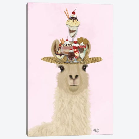 Llama Ice Cream Hat Canvas Print #FNK1819} by Fab Funky Canvas Art