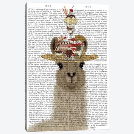 Llama Ice Cream Hat Book Print Canvas Print #FNK1820} by Fab Funky Canvas Art Print