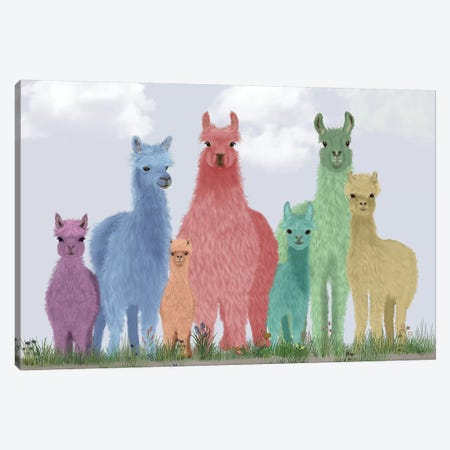 Llama Pastel Family Canvas Print #FNK1825} by Fab Funky Canvas Artwork