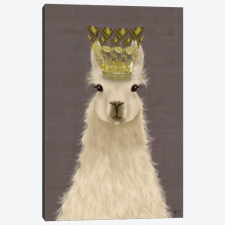 Llama Queen Canvas Print #FNK1826} by Fab Funky Canvas Art