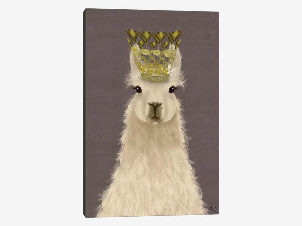 Llama Queen 1-piece Canvas Wall Art