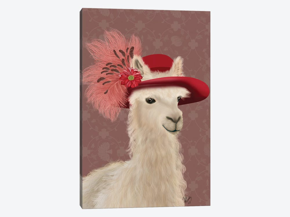 Llama Red Feather Hat by Fab Funky 1-piece Canvas Artwork