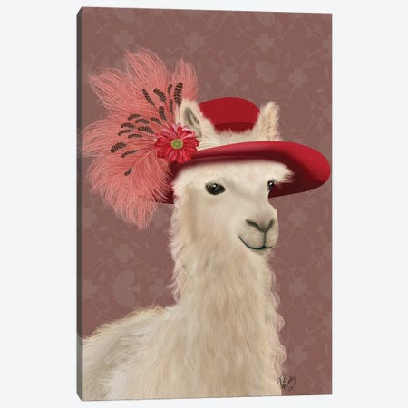 Llama Red Feather Hat Canvas Print #FNK1828} by Fab Funky Art Print
