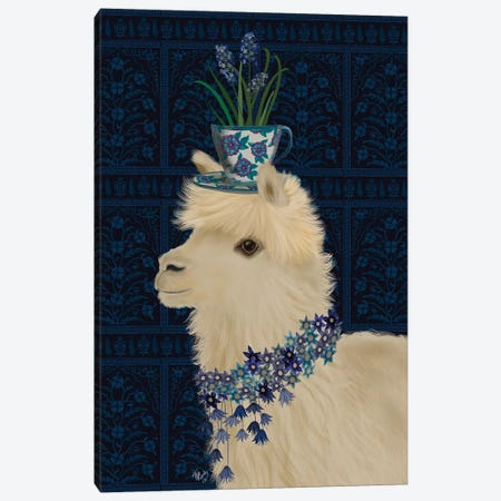 Llama Teacup and Blue Flowers Canvas Print #FNK1829} by Fab Funky Canvas Print