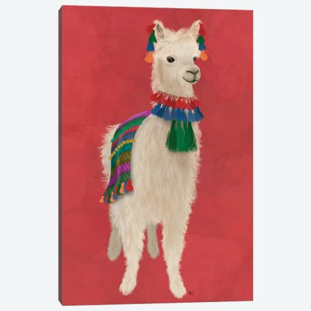 Llama Traditional 1, Full Canvas Print #FNK1830} by Fab Funky Canvas Art