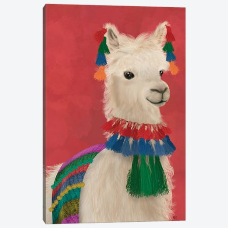 Llama Traditional 1, Portrait Canvas Print #FNK1831} by Fab Funky Canvas Art