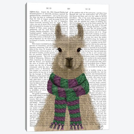 Llama with Purple Scarf, Portrait Book Print Canvas Print #FNK1837} by Fab Funky Art Print