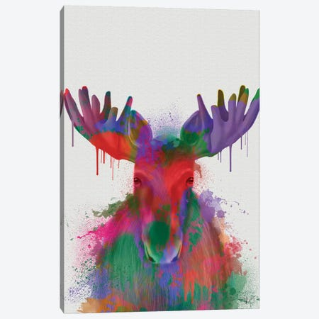 Moose Rainbow Splash Canvas Print #FNK1841} by Fab Funky Art Print