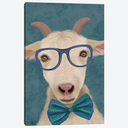 Nerdy Goat Canvas Print #FNK1843} by Fab Funky Canvas Print