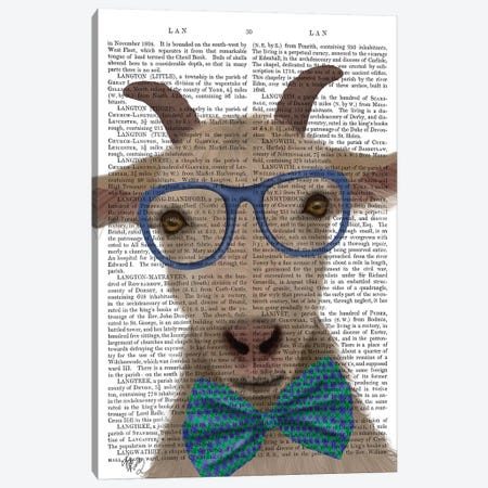 Nerdy Goat Book Print Canvas Print #FNK1844} by Fab Funky Canvas Wall Art