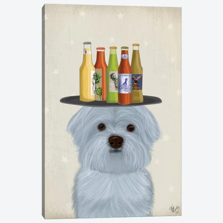Maltese Beer Lover Canvas Print #FNK1845} by Fab Funky Canvas Wall Art