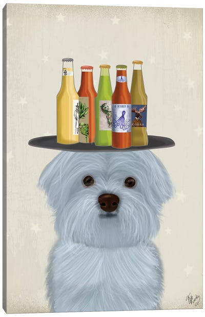Maltese Beer Lover Canvas Art Print