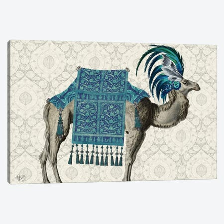 Niraj Camel, Blue Canvas Print #FNK1846} by Fab Funky Canvas Artwork