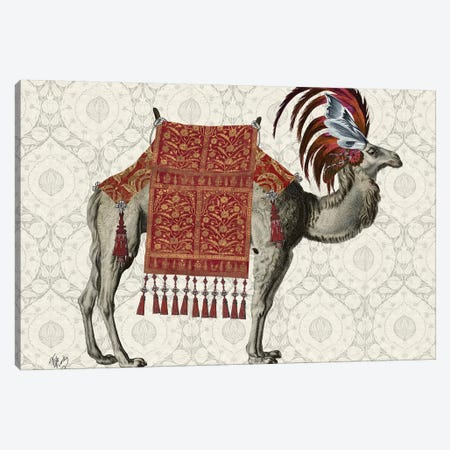 Niraj Camel, Red Canvas Print #FNK1847} by Fab Funky Canvas Art