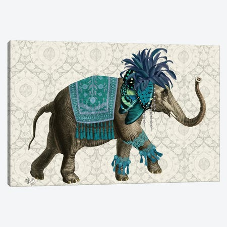 Niraj Elephant, Blue Canvas Print #FNK1848} by Fab Funky Canvas Art Print