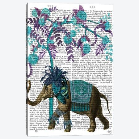 Niraj Elephant, Blue Tree Canvas Print #FNK1849} by Fab Funky Art Print