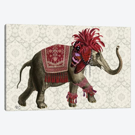 Niraj Elephant, Red Canvas Print #FNK1850} by Fab Funky Canvas Wall Art