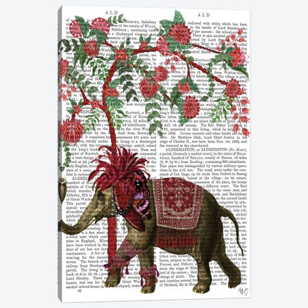 Niraj Elephant, Red Tree Canvas Print #FNK1851} by Fab Funky Canvas Artwork