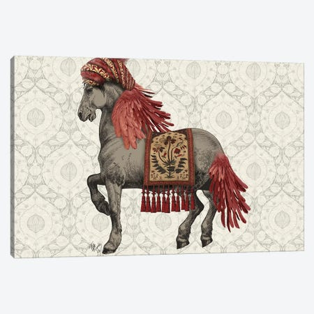 Niraj Horse, Red Canvas Print #FNK1853} by Fab Funky Canvas Art