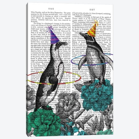 Party Penguins Book Print Canvas Print #FNK1858} by Fab Funky Canvas Art