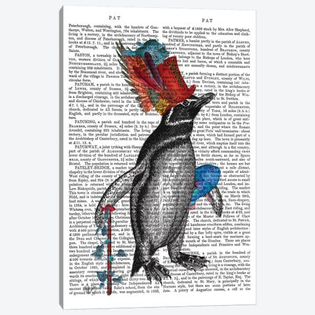 Penguin and Fish Hat Book Print Canvas Print #FNK1859} by Fab Funky Canvas Wall Art