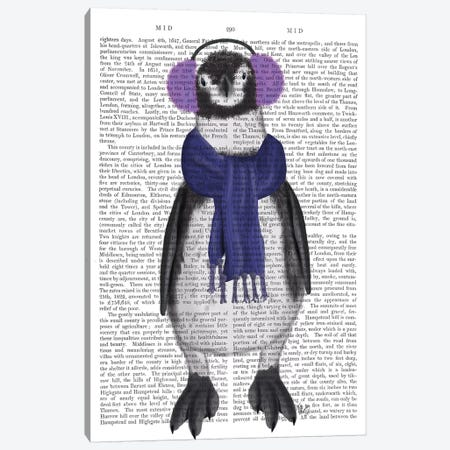 Penguin Ear Muffs Book Print Canvas Print #FNK1861} by Fab Funky Canvas Art Print